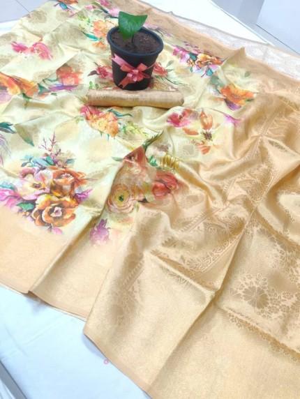spanish digitally Flower printed Premium saree