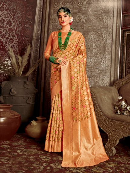 peach color saree with blouse grabandpack