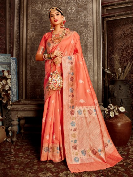 peach color saree contrast blouse grabandpack