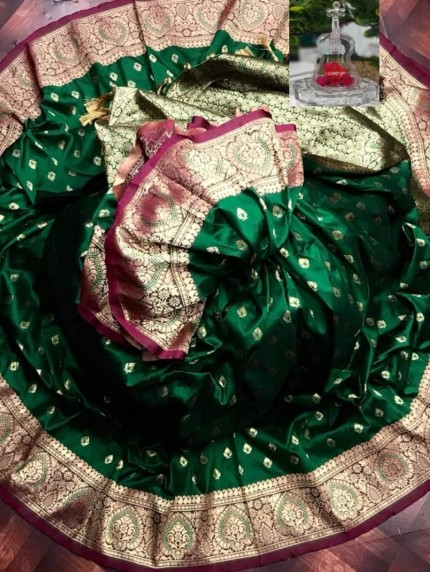 grabandpack zari woven banarasi silk saree green