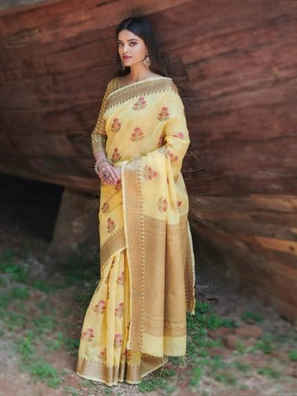 women's Yellow Soft Linen silk saree grabandpack