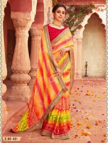 Hand Print Bandhani Chiffon Saree by grabandpack