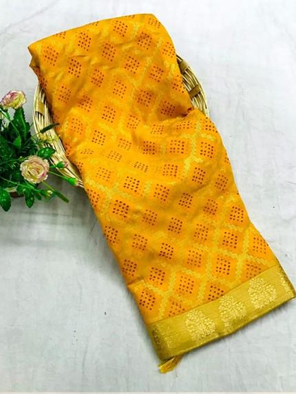 yellow Colored Marble Chiffon Printed Saree