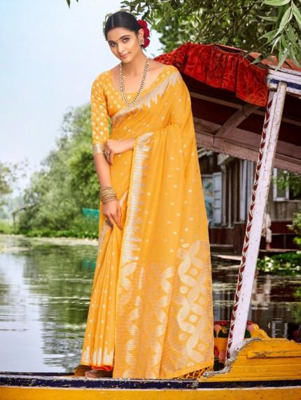 Yellow Colored Silk Soft Cotton Silk Saree - gnp0108510