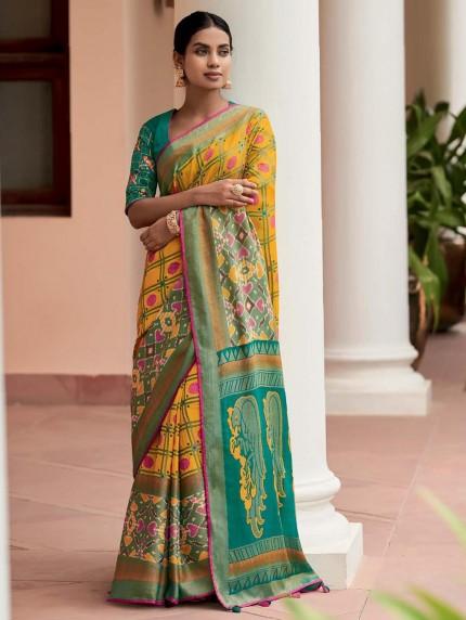Yellow Colored Weaving Brasso Silk Saree - gnp0108796