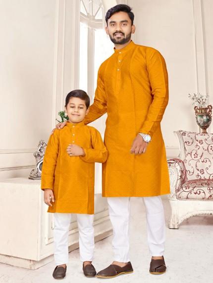 Yellow Father and Son Matching Readymade Kurta with Pajama - gnp0108739