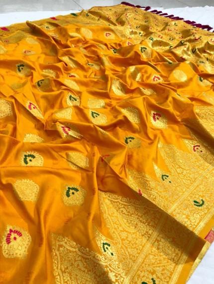 Yellow coloured silk saree by grabandpack.com
