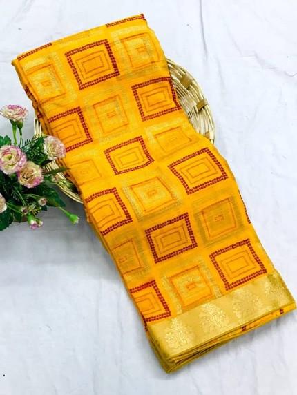 Yellow marbal chiffon printed Fancy saree