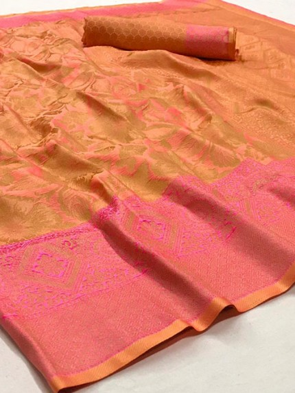 Yellow Nylon Dying Silk Saree - gnp008290