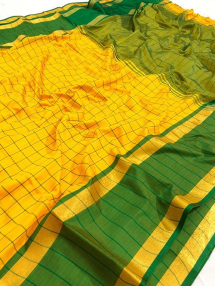 Yellow Pure Upada Silk With Gold Kasab Zari Yarn Saree - gnp008350