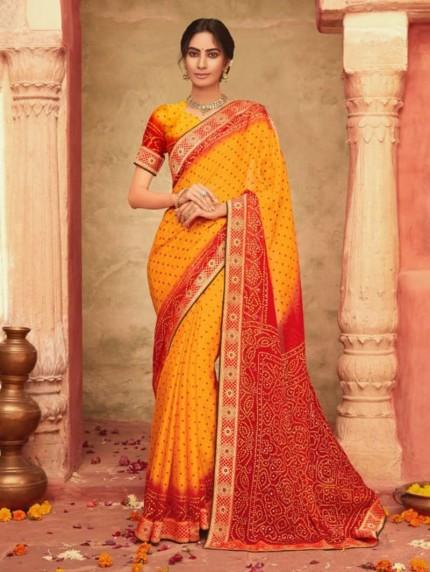 New Saree Design Hand Print Bandhani Chiffon Saree