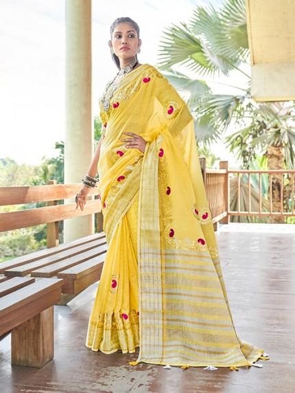 Yellow Soft Linen Saree with Beautiful Gotapatti Border - gnp0108660