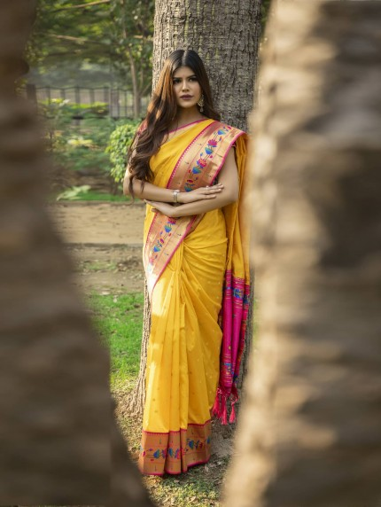 grabandpack Yellow Soft Silk saree with Patch Weaving Border