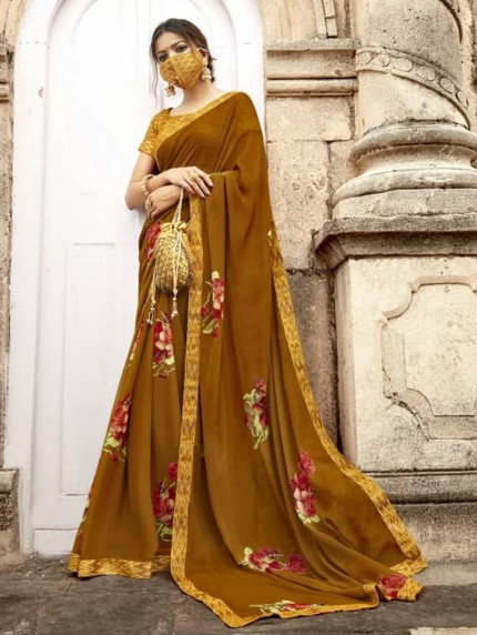 Yellow Weightless Printed Saree With Fancy Mask - gnp009215