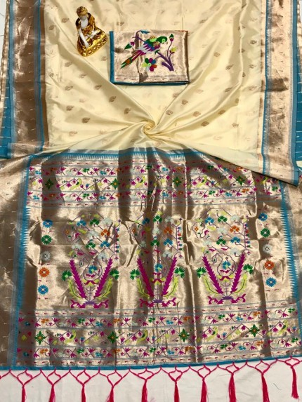 Adorable Design Soft Banarasi Silk Saree in Cream