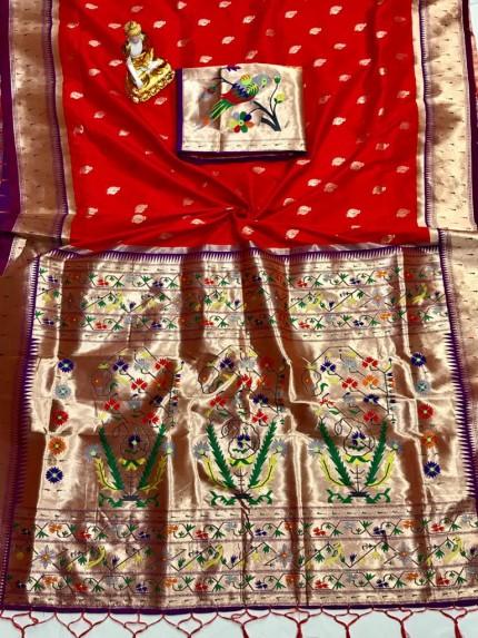 grabandpack Adorable Design Soft Banarasi Silk Saree in Red