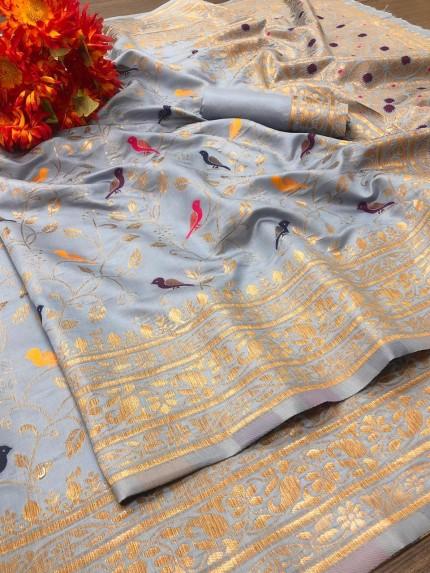 adorable Soft Lichi silk saree in Grey