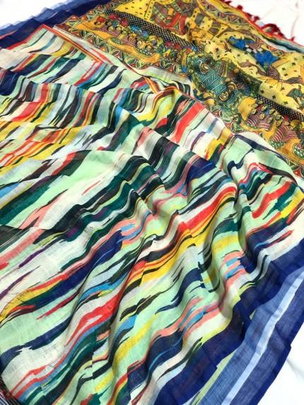 linen saree images
