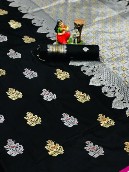 Black Lichi silk woven party wear saree