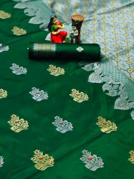 Green Lichi silk woven party wear saree