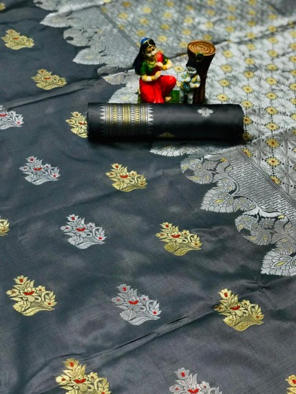 Grey Lichi silk woven party wear saree