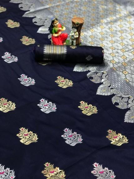 Purple Lichi silk woven party wear saree
