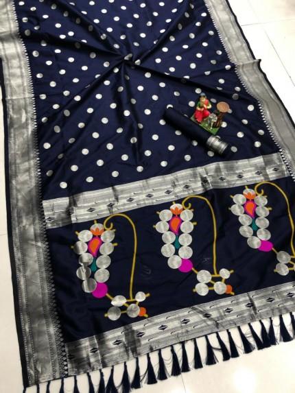 attractive fancy Blue Silk woven saree