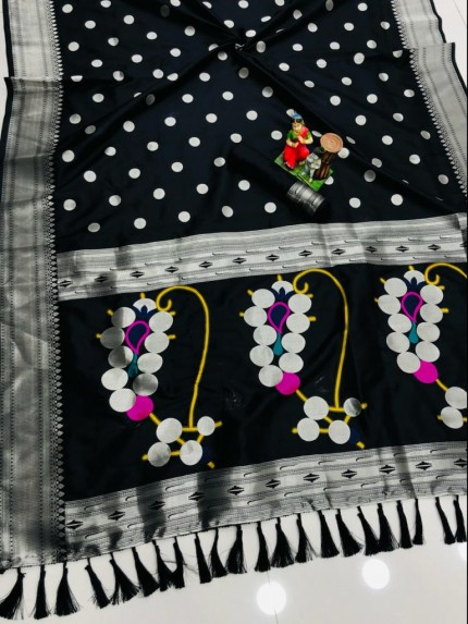 attractive fancy Black Silk woven saree