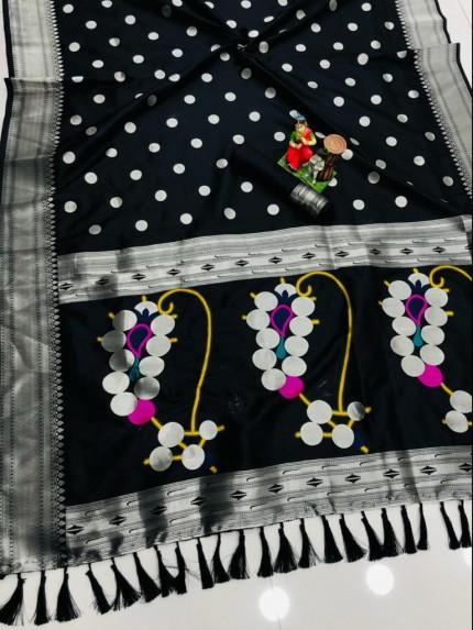 attractive fancy Black Silk woven saree