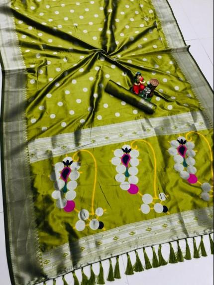 Green coloured Silk woven saree