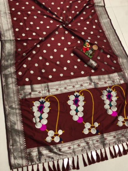 Maroon coloured Silk woven saree