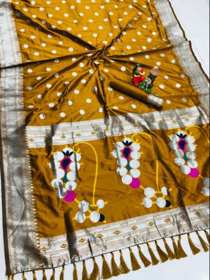 Mustard coloured Silk woven saree