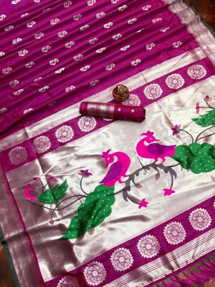 Soft silk indian saree in Pink