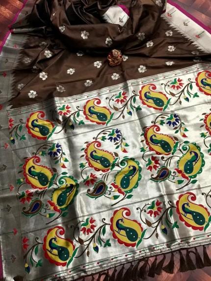 attractive Soft silk Kanchipuram saree in Brown