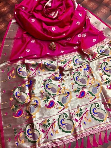 attractive Soft silk Kanchipuram saree in pink