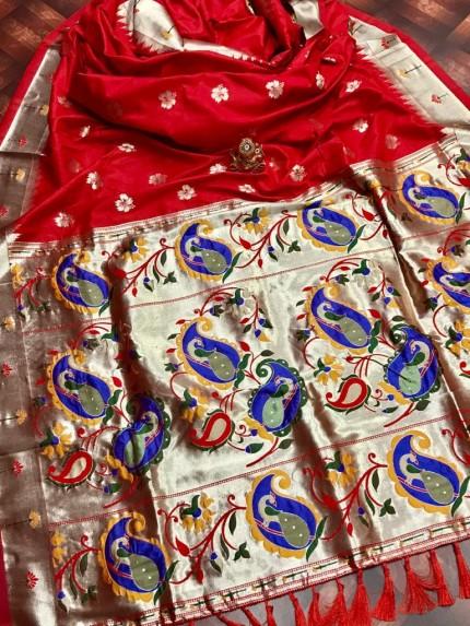 attractive Soft silk Kanchipuram saree in Red