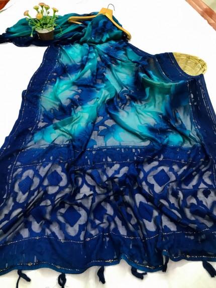 stylish & classy Brasso Attractive Saree in Blue