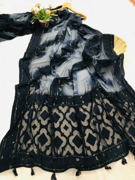 stylish & classy Brasso Attractive Saree in Navy Blue