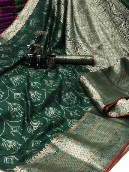 Banarasi silk jacquard saree (Green) gnp007221