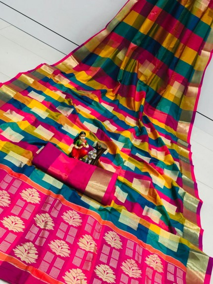 Banarasi Silk Saree With Golden Zari Weaving Design - gnp010110