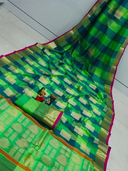 Banarasi Silk Saree With Golden Zari Weaving Design - gnp010111