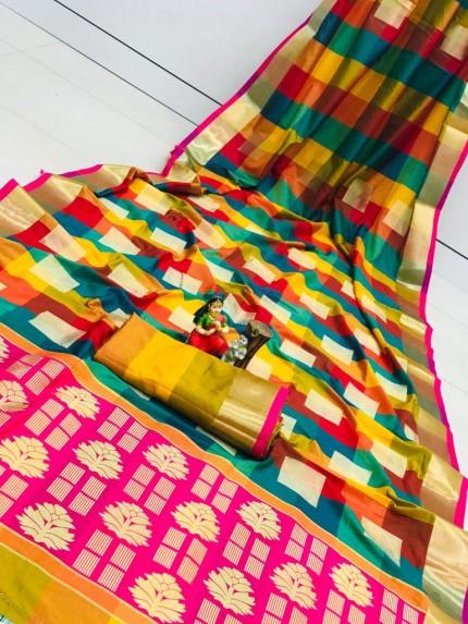 Banarasi Silk Saree With Golden Zari Weaving Design - gnp010113