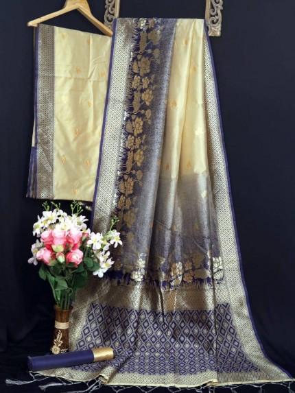Banarasi silk zari weaving saree in blue - grabandpack