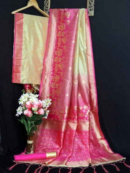 Banarasi silk zari weaving saree in pink - grabandpack