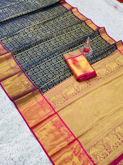 Blue coloured Soft Silk saree