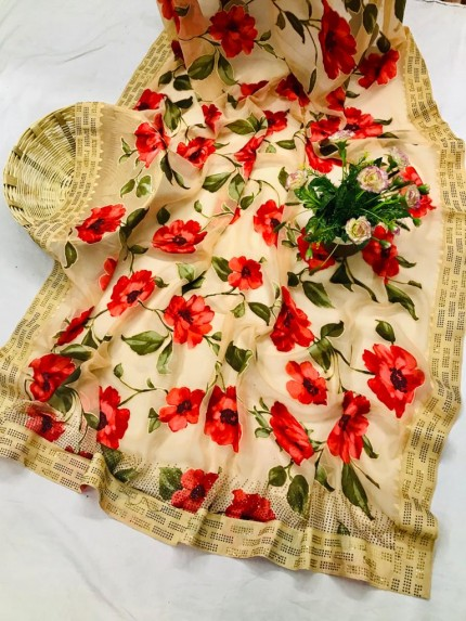 GrabandPAck Beautiful Attractive Flower Printed Brasoo saree