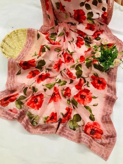Beautiful Attractive Flower Printed Brasoo saree
