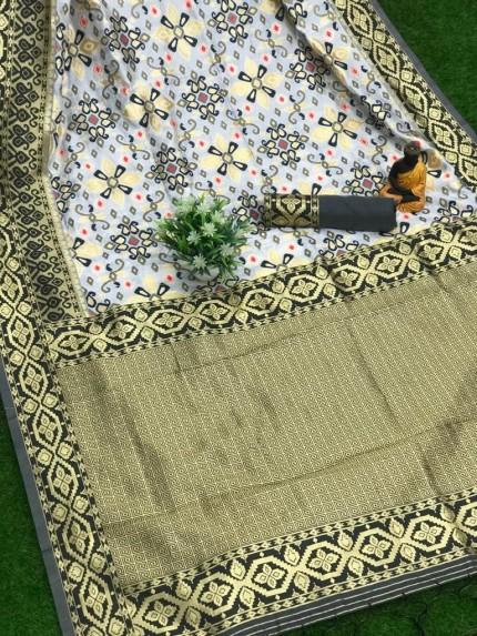 Beautiful black soft banarasi lichi silk patola saree