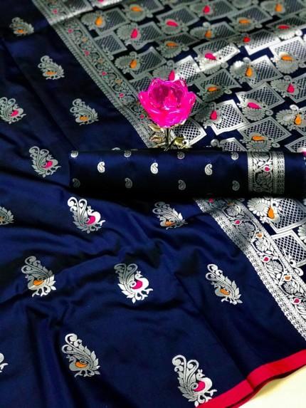 GrabandPack Beautiful Blue Banarasi Lichi Silk Weaving Jacquard Saree