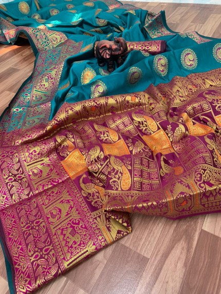 banarasi silk saree with jewellery - grabandpack